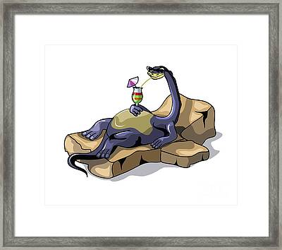 Illustration Of A Brontosaurus Framed Print by Stocktrek Images