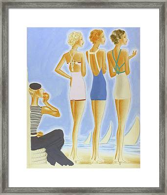 Illustration Of Models On A Beach Wearing Bathing Framed Print by Pierre Mourgue