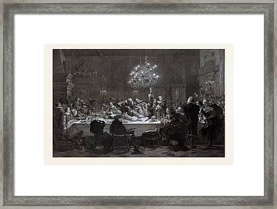 In 1634 Wallenstein Convoked Around Fifty Officers In Pilsen Framed Print