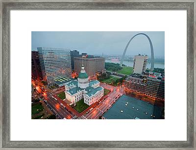 In A Misty Rain An Elevated View Framed Print