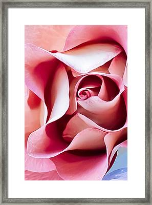 In Depths Of A Rose Framed Print by Elvira Pinkhas