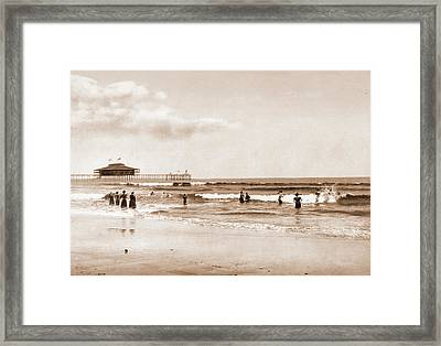 In The Surf At Old Orchard, Maine, Beaches Framed Print