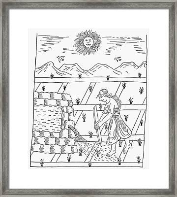 Incan Farmer, C1583 Framed Print by Granger