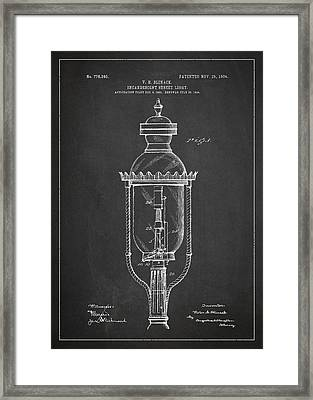 Incandescent Street Light Patent Drawing From 1904 Framed Print by Aged Pixel
