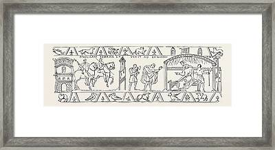 Incidents Copied From The Bayeux Tapestry Framed Print