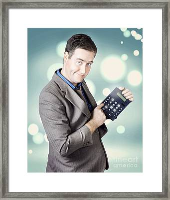 Income Tax Accountant Working Out Return On Refund Framed Print by Jorgo Photography - Wall Art Gallery