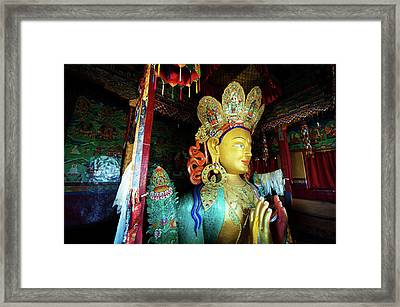 India, Ladakh, Thiksey, Golden Maitreya Framed Print by Anthony Asael