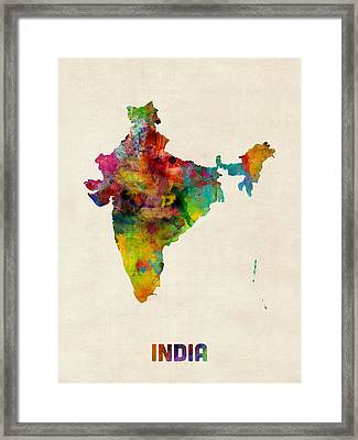 India Watercolor Map Framed Print