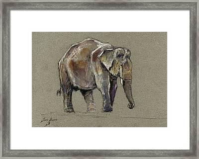 Indian Elephant Framed Print by Juan  Bosco