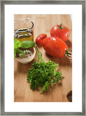 Ingredients For Tomato Sauce: Tomatoes, Herbs, Olive Oil, Spices Framed Print