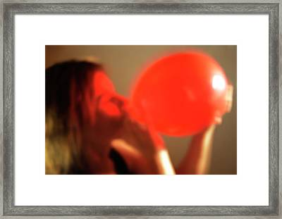 Inhaling Nitrous Oxide From A Balloon Framed Print