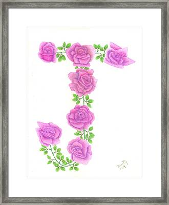 Initial J Framed Print by Dusty Reed