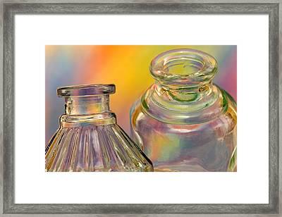 Ink Bottles On Color Framed Print by Carol Leigh