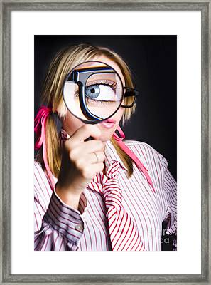 Inquisitive Nerd Searching For Information Framed Print
