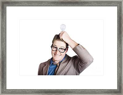 Inspired Business Man. Power Of The Mind Framed Print