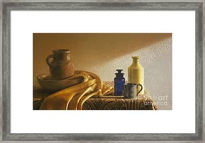 Inspired By Vermeer Framed Print by Barbara Groff