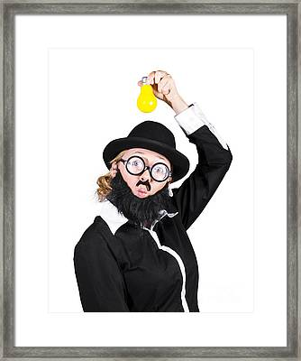 Inspired Woman Dressed As Man Holding Bulb Framed Print by Jorgo Photography - Wall Art Gallery