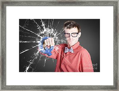Intelligent Young Man With Good Idea Framed Print