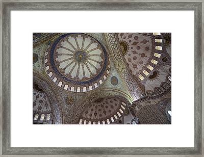 Interior Of Blue Mosque In Istanbul Turkey Framed Print by Brandon Bourdages