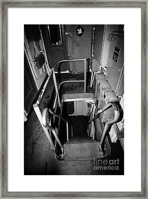 Internal Stairways Of Uss Intrepid At The Intrepid Sea Air Space Museum  Framed Print by Joe Fox