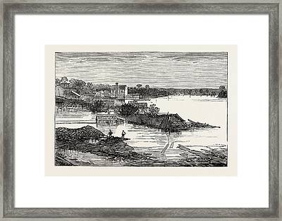 Inundations In The United States Of America Cumberland River Framed Print by American School