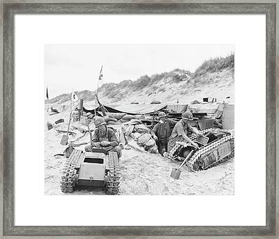 Invasion Of Normandy Framed Print by Us Navy