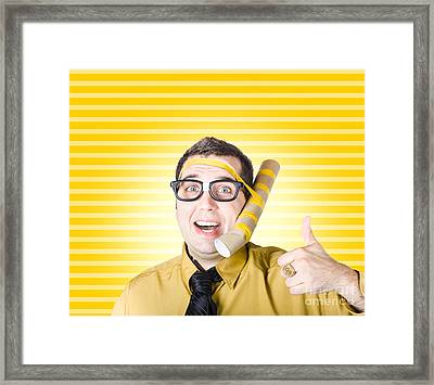 Inventive Man With Innovative Handmade Phone Framed Print