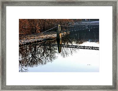 Iowa Falls Swinging Bridge  Framed Print by Jon Baldwin  Art