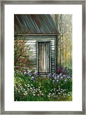 Iris By Barn Framed Print by Steven Schultz