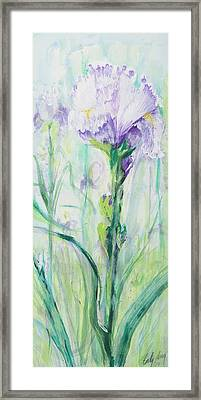 Framed Print featuring the painting Iris Number One by Cathy Long