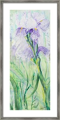 Framed Print featuring the painting Iris Number Three by Cathy Long
