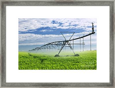 Irrigation Equipment On Farm Field Framed Print