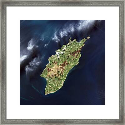 Isle Of Man, Satellite Image Framed Print by Science Photo Library