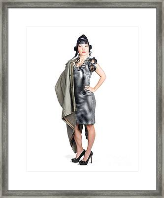 Isolated Asian Pin Up Lady. Air Force Style Framed Print