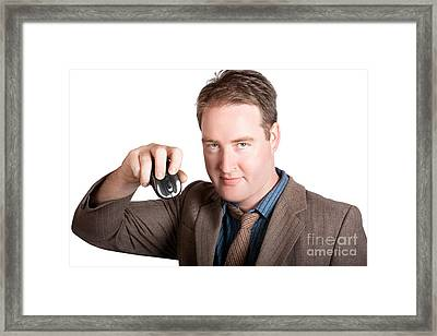 Isolated Business Man Holding Computer Mouse Framed Print