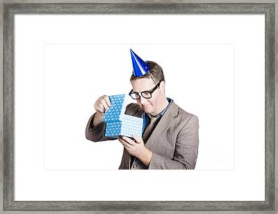 Isolated Businessman In Party Hat. Business Bonus Framed Print