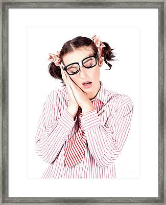 Isolated Businesswoman Sleeping On White Background Framed Print