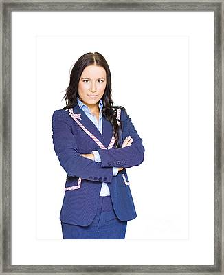 Isolated Confident Female Business Person On White Framed Print by Jorgo Photography - Wall Art Gallery