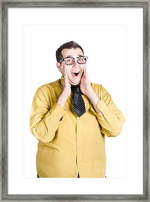 Isolated Excited Businessman Framed Print by Jorgo Photography - Wall Art Gallery