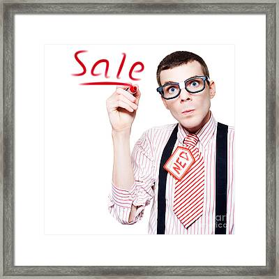 Isolated Funny Nerd Advertising A Store Sale Framed Print by Jorgo Photography - Wall Art Gallery