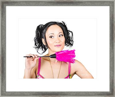 Isolated Hotel Maid Thinking With Feather Duster Framed Print