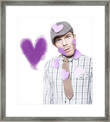 Isolated Love Struck Boy With Purple Heart Drawing Framed Print by Jorgo Photography - Wall Art Gallery