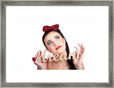 Isolated Pin Up Woman With A Dream In Grasp Framed Print