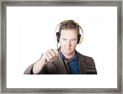 Isolated Retro Man About To Plugin Stereo Headphones Framed Print by Jorgo Photography - Wall Art Gallery