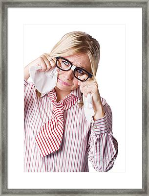 Isolated Sad Business Woman Crying Into Tissue Framed Print by Jorgo Photography - Wall Art Gallery