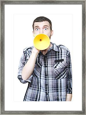 Isolated Shocked Man With Petrol Funnel Megaphone Framed Print by Jorgo Photography - Wall Art Gallery