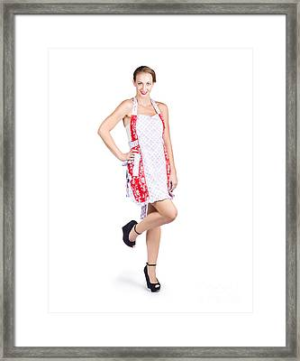 Isolated Woman In Kitchen Apron Framed Print by Jorgo Photography - Wall Art Gallery