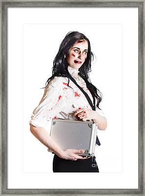 Isolated Zombie Businesswoman On White Framed Print by Jorgo Photography - Wall Art Gallery
