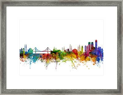 Istanbul Turkey Skyline Framed Print by Michael Tompsett