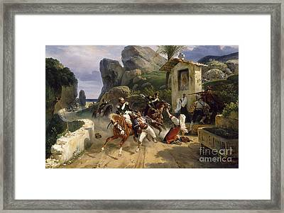 Italian Brigands Surprised By Papal Troops Framed Print by Celestial Images